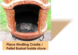 Place Kindling Cradle / Pellet Basket inside stove