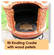 fill Kindling Cradle  with wood pellets